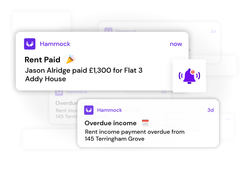 instant rent transaction notification at Hammock