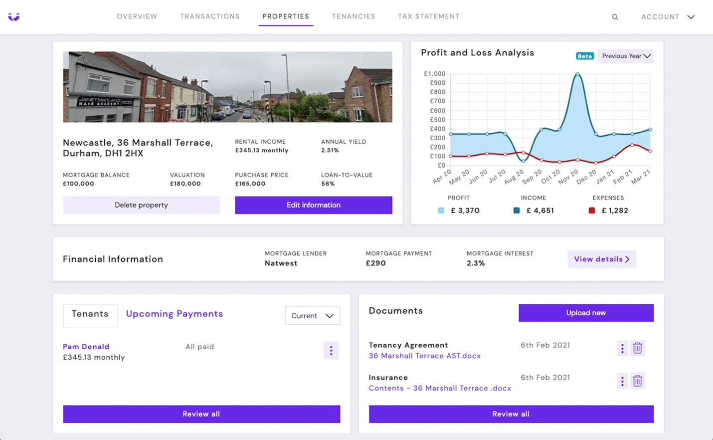 edit or delete property information, view financial information for your property, upcoming payments and documents, profit and loss analysis